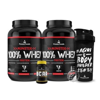 Kit 2x Monster 100% Whey + PowerBCAA + Coqueteleira BodyBuilder