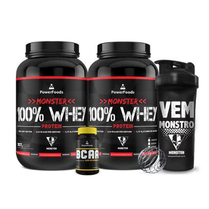 Kit 2x Monster 100% Whey + PowerBCAA + Coqueteleira Vem Monstro