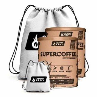 Kit 2X Supercoffee 220G + Mochila - Caffeine Army (Cafe)