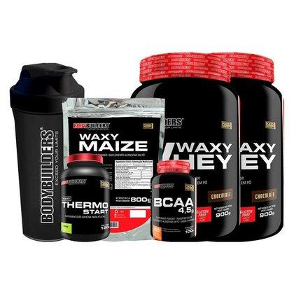 KIT 2x Waxy Whey 900g -  + 1x BCAA 100g + 1x Thermo Limão + Waxy Maize + Coqueteleira - BodyBuilders