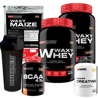 Kit 2x Waxy Whey 900g + BCAA 4,5 100g + Creatine 100g + Waxy Maize 800g + Coquet. – Bodybuilders