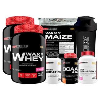 Kit 2x Waxy Whey 900g+BCAA 100g+Creatina 100g+Waxy Maize 800g+Colágeno+Coqueteleira-Bodybuilders