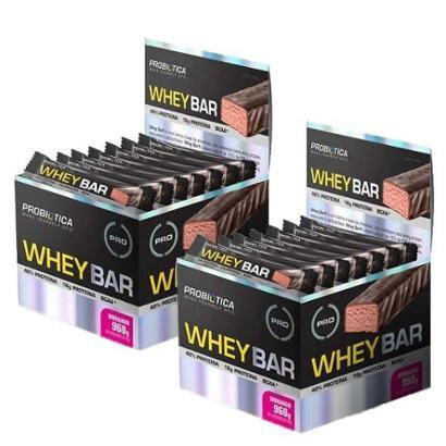 Kit 2x Whey Bar Protein 24un 40gr Probiotica