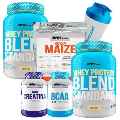 Kit 2x Whey Blend 900g + BCAA 100g + Creatina 100g + Waxy Maize 800g + Coqueteleira - BRNFOODS