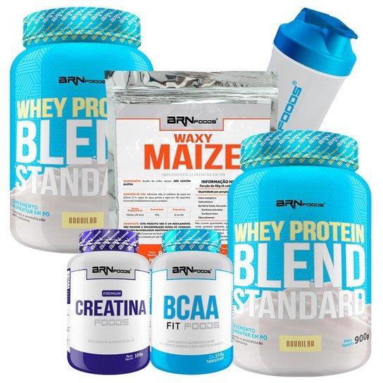 Kit 2x Whey Blend 900g + BCAA 100g + Creatina 100g + Waxy Maize 800g + Coqueteleira - BRNFOODS -