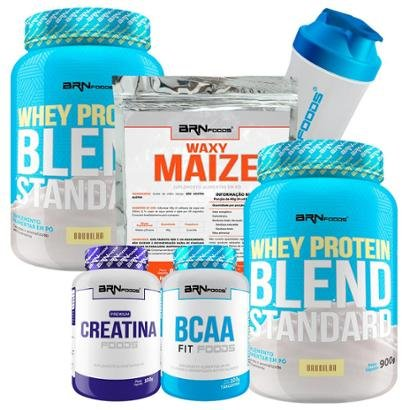 Kit 2x Whey Blend 900g + BCAA 100g + Creatina 100g + Waxy Maize 800g + Coqueteleira BRNFOODS