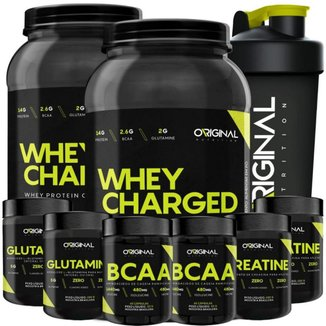 Kit 2x Whey Charged + 2x Gluta + 2x Bcaa + 2x Crea + Shaker ON