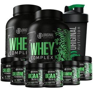 Kit 2X Whey Complex + 2X Bcaa + 2X Glutamin + 2X Crea + Shaker