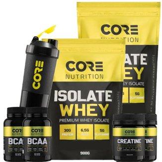 Kit 2x Whey Isolate + 2x Bcaa + 2x Creatina + Coqueteleira Core Nutrition