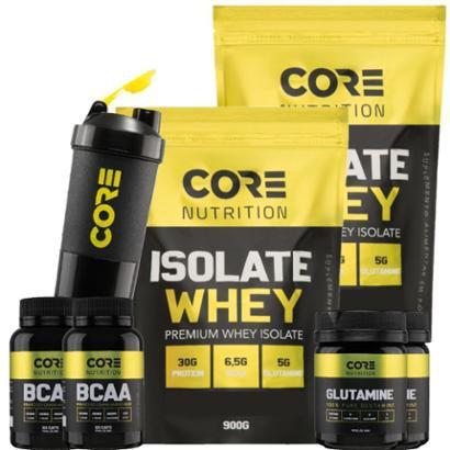 Kit 2x Whey Isolate + 2x BCAA + 2x Glutamina + Shaker Core Nutrition