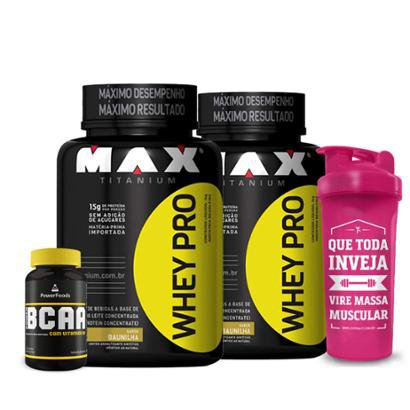 Kit 2x Whey Pro 1kg - Max Titanium + Power BCAA 120 Cáps - PowerFoods + Coqueteleira 700 ml