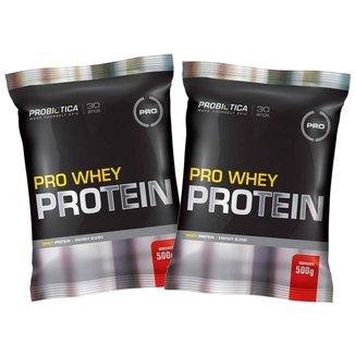 Kit 2x Whey Pro 500g  - Morango - Probiótica