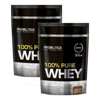 Kit 2x Whey Protein 100% Pure Whey Probiótica Refil 825g
