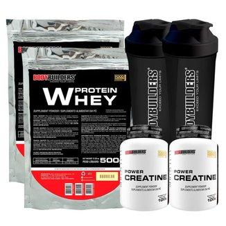 KIT - 2x Whey Protein 500g + 2x Creatina 100g + 2x Coqueteleira - Bodybuilders