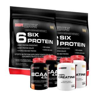 KIT - 2x Whey Protein 6 Six Protein  900g + 2x BCAA 4.5 100g + 2x 100% Creatina - BodyBuilders