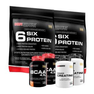 KIT - 2x Whey Protein 6 Six Protein 900g + 2x BCAA 4.5 100g + 2x  Creatina - BodyBuilders