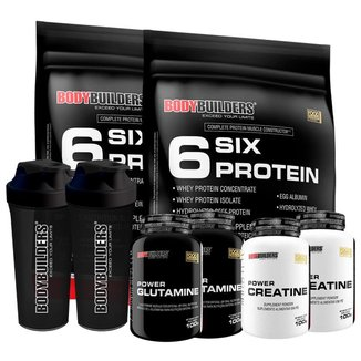 KIT -2x Whey Protein-6 Six Protein 900g +2x  Glutamina 100g +2x  Creatina 100g +2xCoque-BB