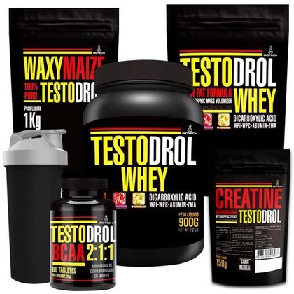 Kit 2x Whey Protein 900g + BCAA 60 Tábs + Creatina 150g + Waxy Maize 1kg + Coqueteleira - Biotech