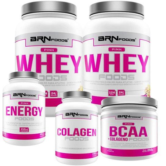 Kit 2X Whey Protein 900G + Cafeina 60 Cap + Colageno 100G + Bcaa  250G- Brn Foods -