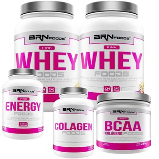 Kit 2X Whey Protein 900G + Cafeina 60 Cap + Colageno 100G + Bcaa  250G- Brn Foods