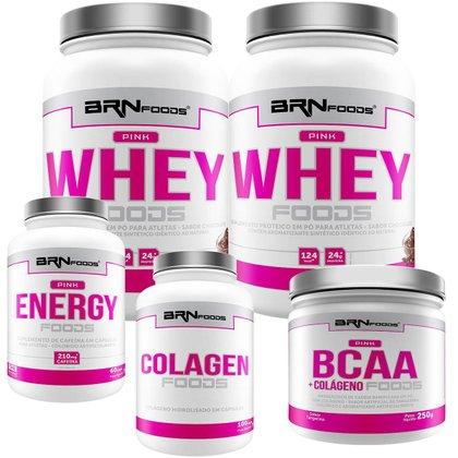 Kit 2x Whey Protein 900g + Cafeina 60 Cáps + Colageno 100g + BCAA 250g BRN FOODS