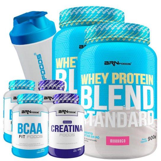 Kit 2x Whey Protein Blend 900g + 2X Creatina 100g + 2X BCAA 100g + Coqueteleira 600 ml BRN Foods -