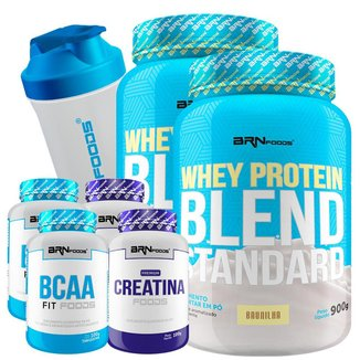 Kit 2x Whey Protein Blend 900g + 2X Creatina 100g + 2X BCAA 100g + Coqueteleira 600 ml BRN Foods