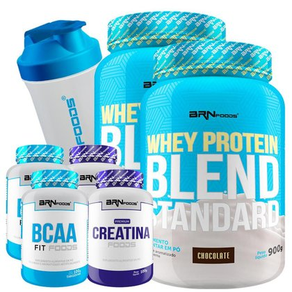Kit 2x Whey Protein Blend 900g + 2X Creatina 100g + 2X BCAA 100g + Coqueteleira 600 ml BRN Foods