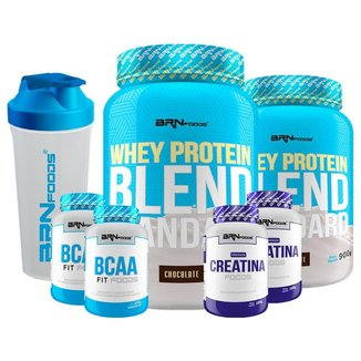 KIT-2x Whey Protein Blend 900g +2x PREMIUM Creatina 100g +2x BCAA fit foods 100g+Coqueteleira-BRN