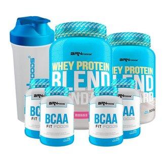Kit 2x Whey Protein Blend 900g + 4x BCAA 100g + Coqueteleira 600mL - BRNFOODS