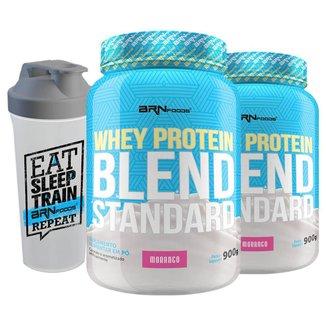 Kit 2X Whey Protein Concentrado Blend Standard + Coqueteleira - Brn Foods