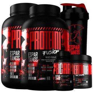 Kit 2x Whey Protein Fusion + Bcaa + Creatina + Shaker