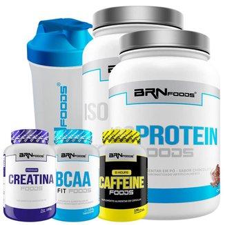 Kit 2x Whey Protein Iso 900g + Cafeína 120cap + Creatina 100g + BCAA 120caps+ Coqueteleira 600ml