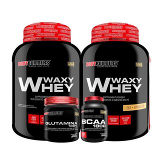 KIT - 2x Whey Protein Waxy Whey 2kg + Glutamina 300g + BCAA 1800 120 Cápsulas - Bodybuilders