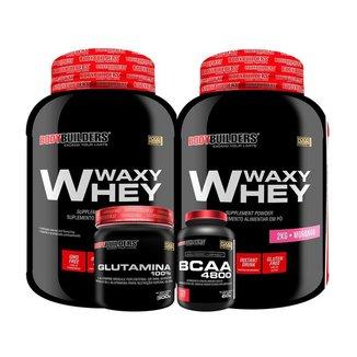 KIT - 2x Whey Protein Waxy Whey 2kg + Glutamina 300g + BCAA 4800 120 Cápsulas - Bodybuilders