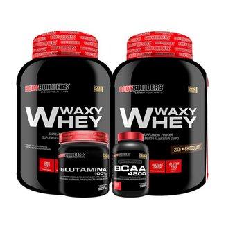 KIT - 2x Whey Protein Waxy Whey 2kg + Glutamina 300g + BCAA 4800 250 Cápsulas - Bodybuilders