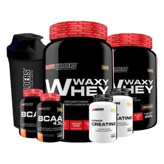 KIT - 2x Whey Protein Waxy Whey 900g + 2x BCAA 100g + 2x  Creatina 100g + Coqueteleira - BB