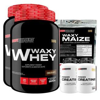 KIT - 2x Whey Protein Waxy Whey 900g + 2x Creatina 100g + Waxy Maize 800g - Bodybuilders