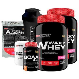 KIT -2x Whey Protein Waxy Whey +BCAA 100g +  Creatina 100g + Albumin 500g  +Coqueteleira-BB