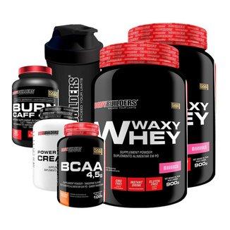 KIT -2x Whey Protein Waxy Whey +BCAA 100g + Creatina 100g +Cafeína 60 cáps + Coqueteleira-BB