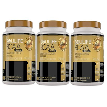 Kit 3 BCAA 1400mg 60 Cáps Soulife
