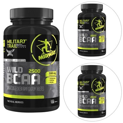 Kit 3 BCAA Wild 100 Tabs Military Trail Midway