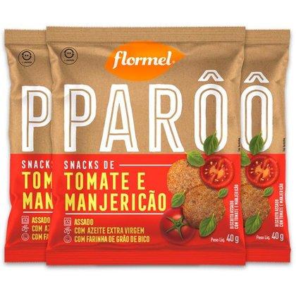 Kit 3 Biscoito de Polvilho Tomate e Manjericão Parô Flormel 40G