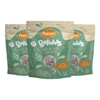 Kit 3 Bolinhas Flormel zero Lactose 60g - Doce de leite c/coco