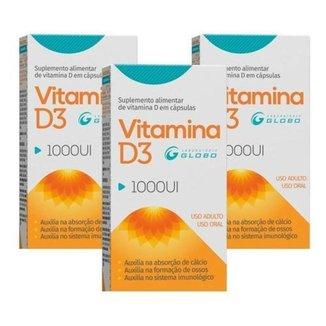 Kit 3 Caixas De Vitamina D3 1000ui 30 Cápsulas Globo