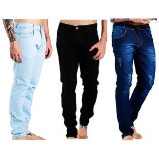 Kit 3 Calça Jeans Masculina Confortável Dia a Dia Versátil