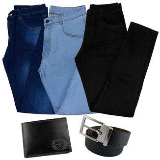 kit 3 Calça Jeans Masculina Skinny C Elastano + Carteira + Cinto