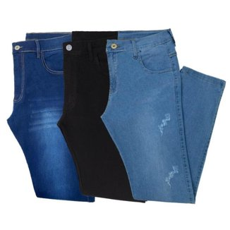Kit 3 Calça Jeans Masculina slim