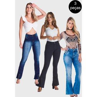 Kit 3 Calças HNO Jeans Flare Petit Premium Azul