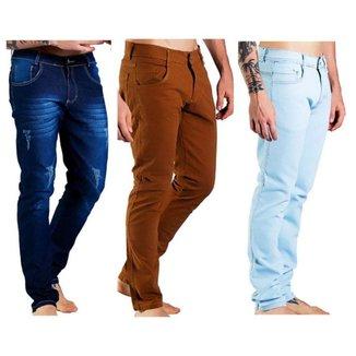 Kit 3 Calças Jeans Sandro Moscoloni Skinny Masculina